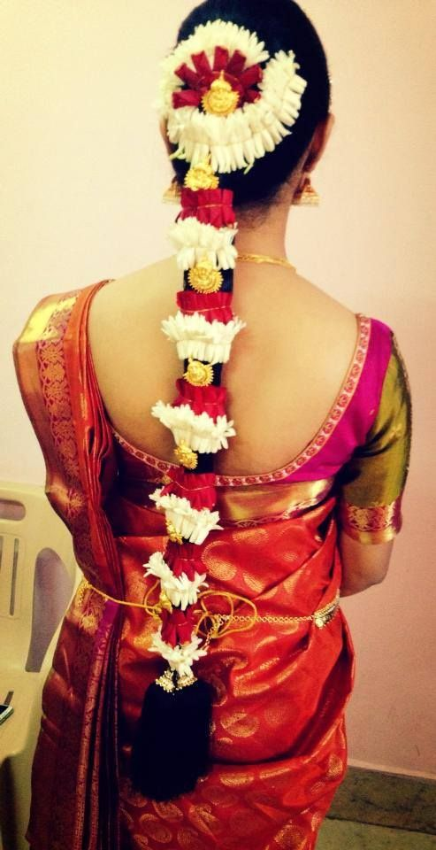 Traditional South Indian Bride In Bridal Braid Hairstyle