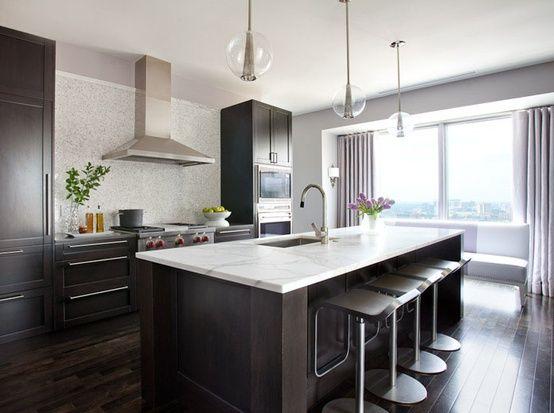 Beautiful Gray Wood Floors with Dark Cabinets