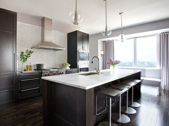 kitchen island chairs with backs large for sale idea #3: dark floors, cabinets, white counter ...