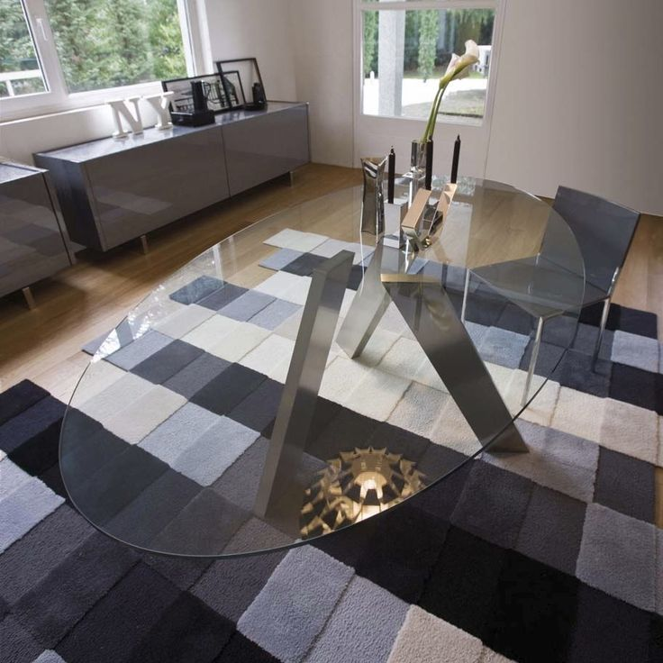 Contemporary Oval Glass Dining Tables Collection