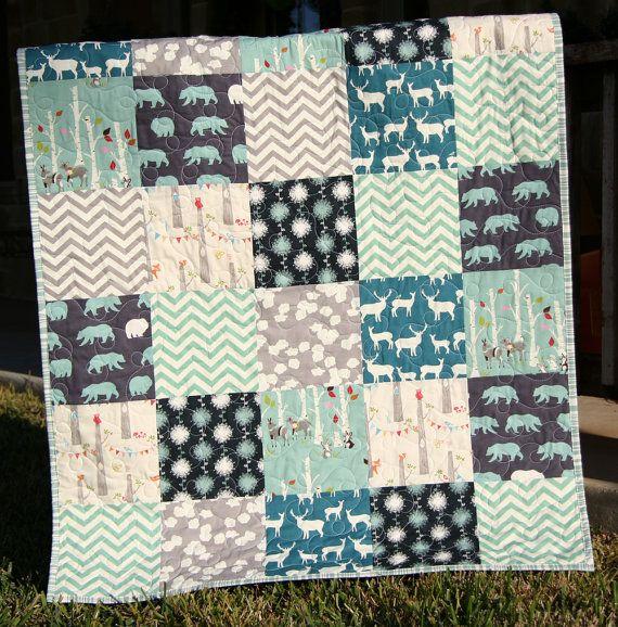 Organic Baby Boy Quilt Blue Teal Grey Gray Birch Fabric