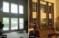 TWO STORY GREAT ROOM- UPDATE | Tall window treatments ...