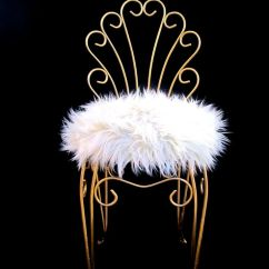 Gold Metal Accent Chair Covers For Glider Rocker Vintage Hollywood Regency & Faux Fur Vanity Stool   Chairs, And ...
