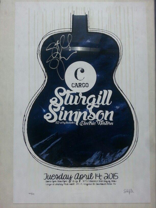 Sturgill Simpson gig poster Cargo Reno Nevada 41415
