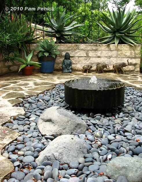 water feature - fountain and black