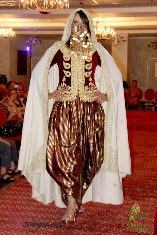 Karakou veste traditionnelle dAlgrie brode de sarouel ici porte avec un badroune