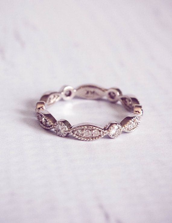 Stunning 1930s style, reproduction antique diamond pave wedding ring. With 0.4 carats of diamonds in a pave setting, the design to