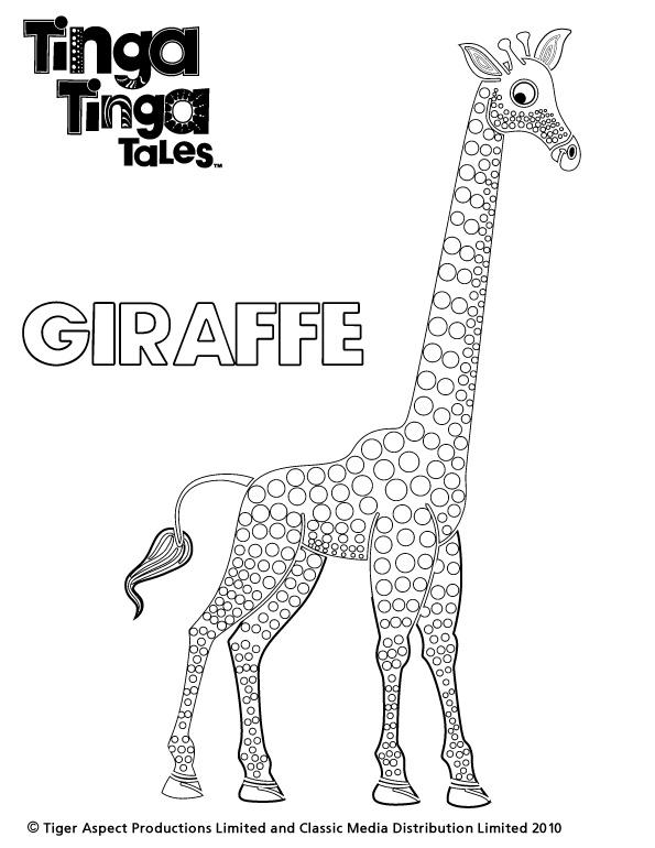 Tinga Tinga Tales Black and white picture of Giraffe