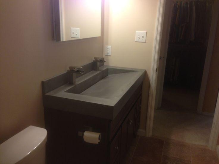 Concrete trough sink slanted back with slot drain  Slot