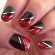 nail art - red silver glitter over