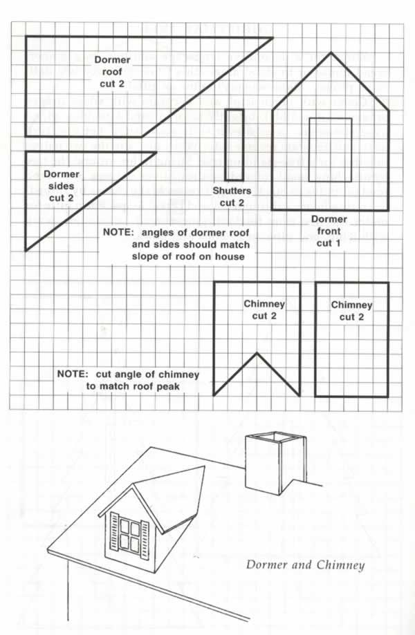 Blueprint template for making a dormer and chimney to add