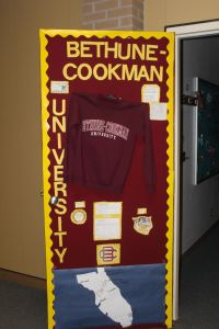 Teachers at Crockett Jr. High held a college door ...