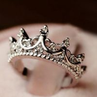 Fashion Diamante Crown Shaped Ring For Women, SILVER, ONE ...