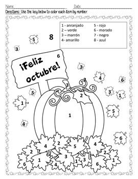 ¡Feliz octubre!-Colors in Spanish (6 pages)Happy October