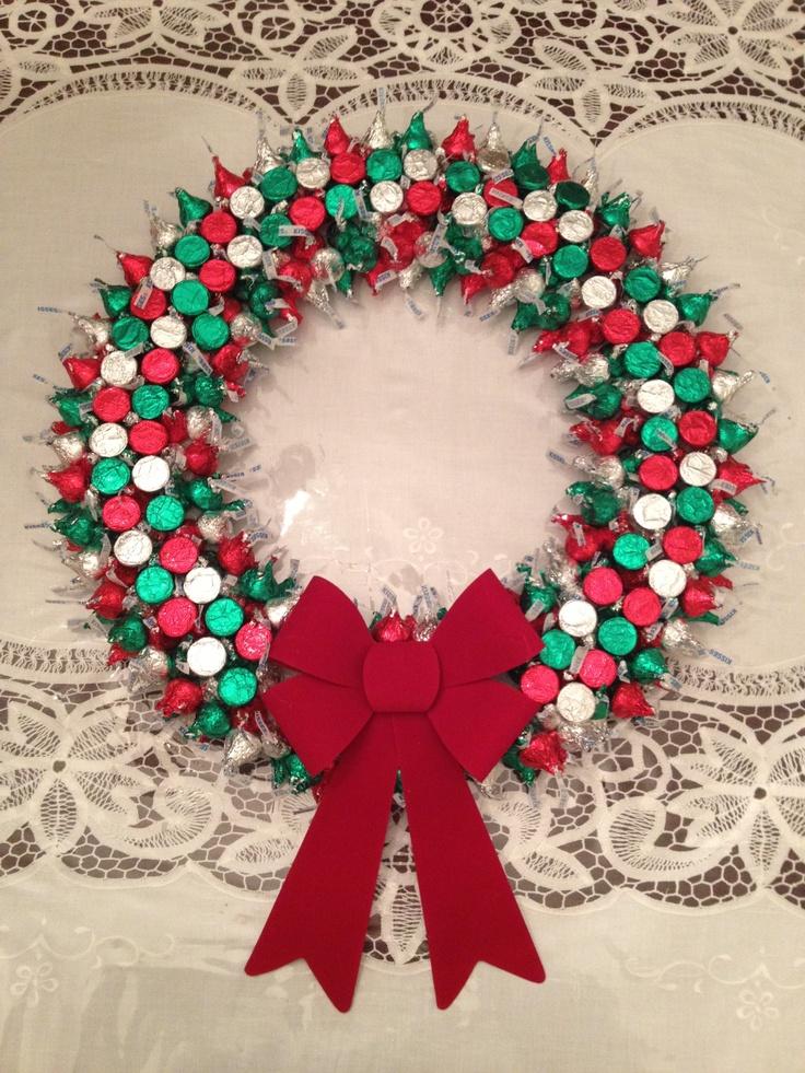 Hershey Kiss Wreath Holiday Crafts Pinterest