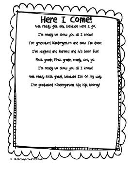 Here I Come First Grade Poem!Hello Kinder Friends. This is