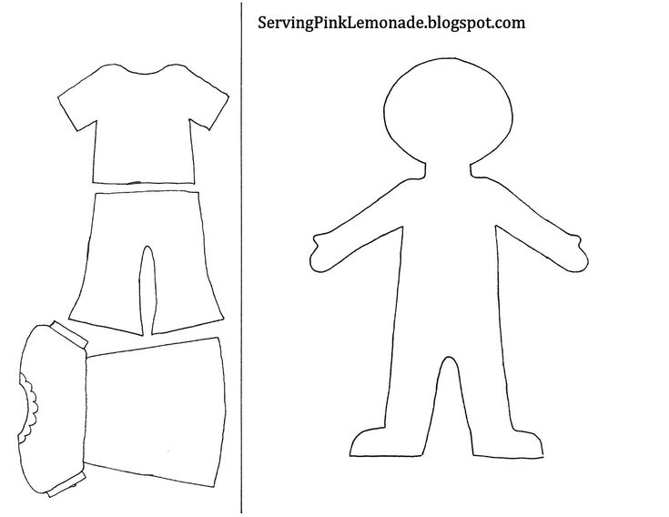 Template for girl and clothes. Also mailbox, tree for