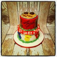 Ba-By-Q baby shower cake, with grill and picnic cloth ...