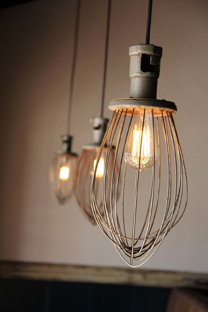 Lights made from whisks from a comm