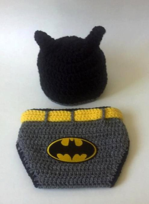 Crochet Baby Batman Hat and Diaper Cover Set by