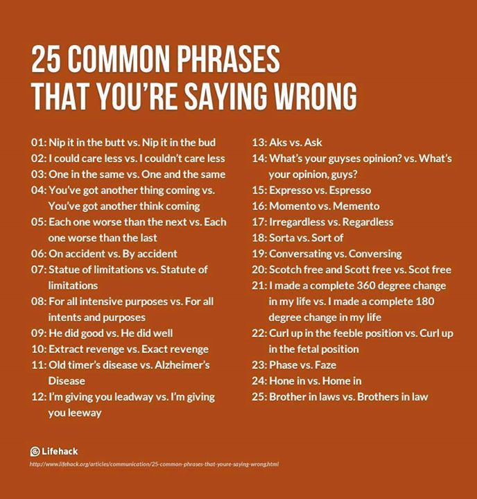 25 Common Phrases That You're Saying Wrong  Funny, You