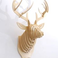 Natural Wooden Deer Head 3 D Puzzle Wall Mount | Wooden ...