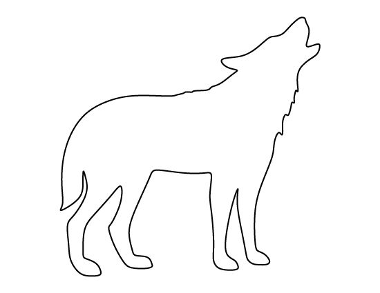 Howling wolf pattern. Use the printable outline for crafts