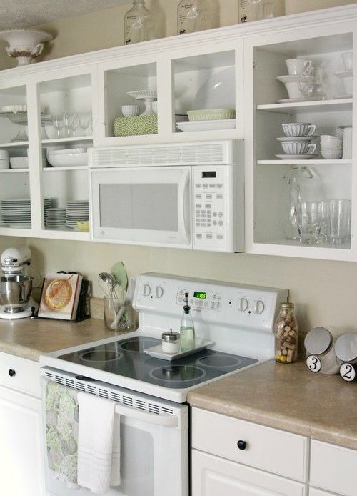 how to redo kitchen cabinets on a budget floor options over-the-range microwave and open shelving - kitchens ...