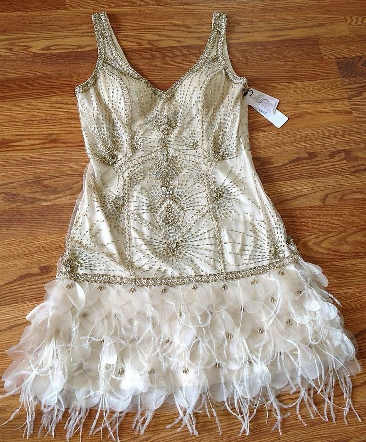 SUE WONG 1920s Gatsby Champagne Beaded Feather Evening Bridal Wedding Dress 6  Feathers My