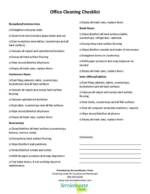 office cleaning checklist printable