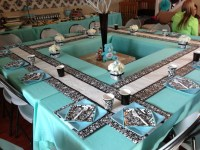 Damask baby shower - table set up   Party Ideas ...