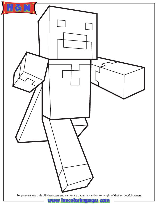 Running Minecraft Character With Cape Coloring Page