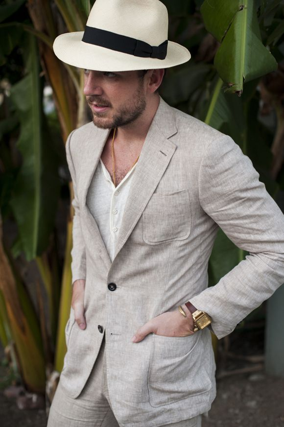 Khaki Linen or Cotton suit with patch pockets for summer Unlined a must  Clothing Ideas