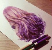 hair drawing and purple