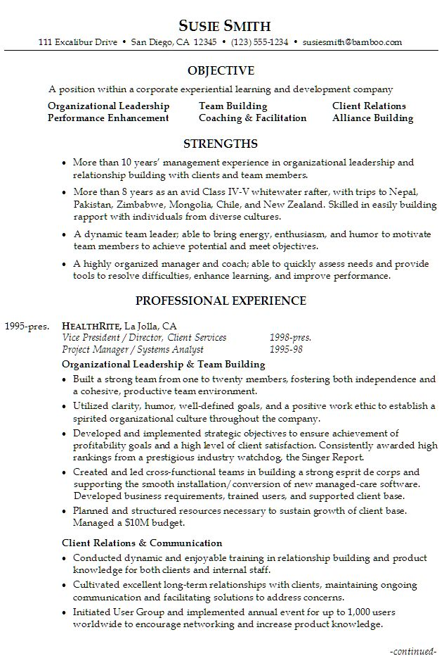 leadership section resume examples