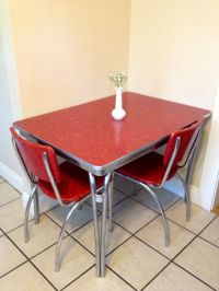 1950's chrome retro red kitchen table with 2 red by