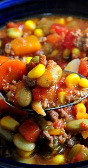 Fall Crock Pot Hearty Vegetable Soup: