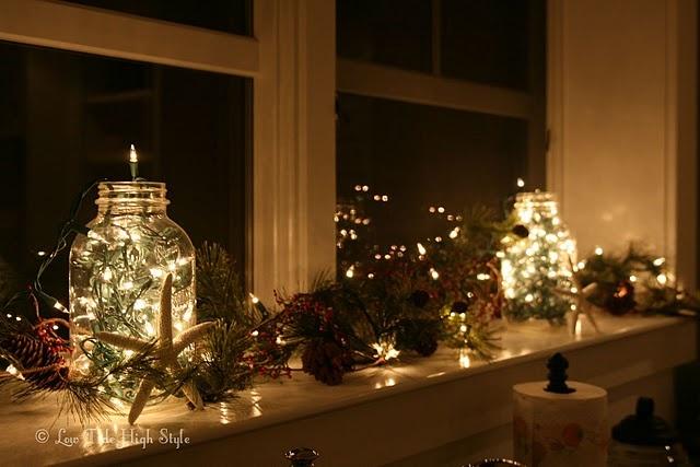 Christmas kitchen windowsill