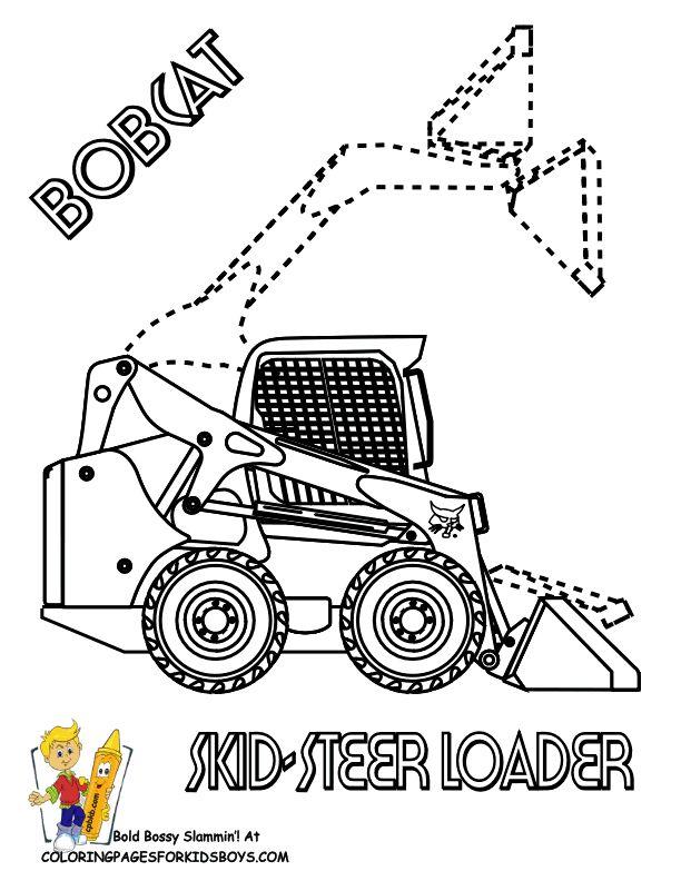 BobCat Skid Steer Loader Construction Coloring Page. You