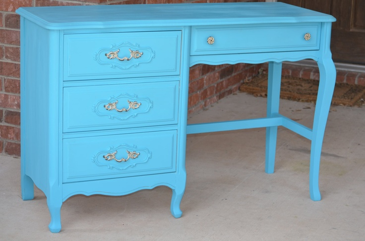 French Provincial Turquoise Blue Desk  Shabby Chic
