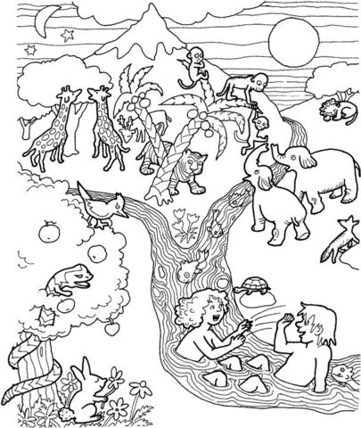 Adam and Eve in the garden of Eden coloring page from Adam