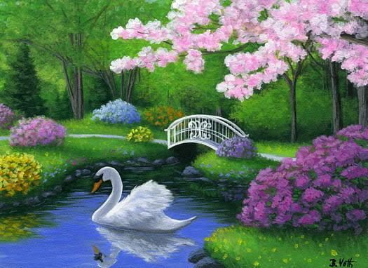 Zedge Cute Cats Wallpapers Swan Bird Spring Lake Trees Park Landscape Limited Edition