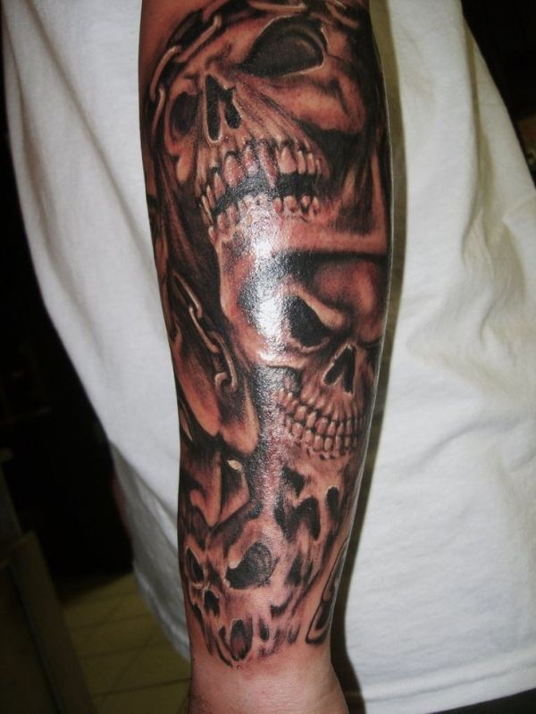 evil skull sleeve tattoos