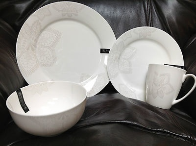 Roscher fine bone china floral paisley pearl white 16pc