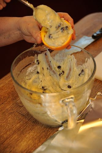Put muffin mix in hulled out orange, wrap in 3 layers of foil and toss onto campfire. 10 minutes (after some rotating), you get muffins w/ an orange zesty