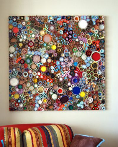 "Lee Gainer — ""….fabric, paper, felt, foil, caps, carpet, metal, plastic, styrafoam, dried paint, beads, padding and cardboard"