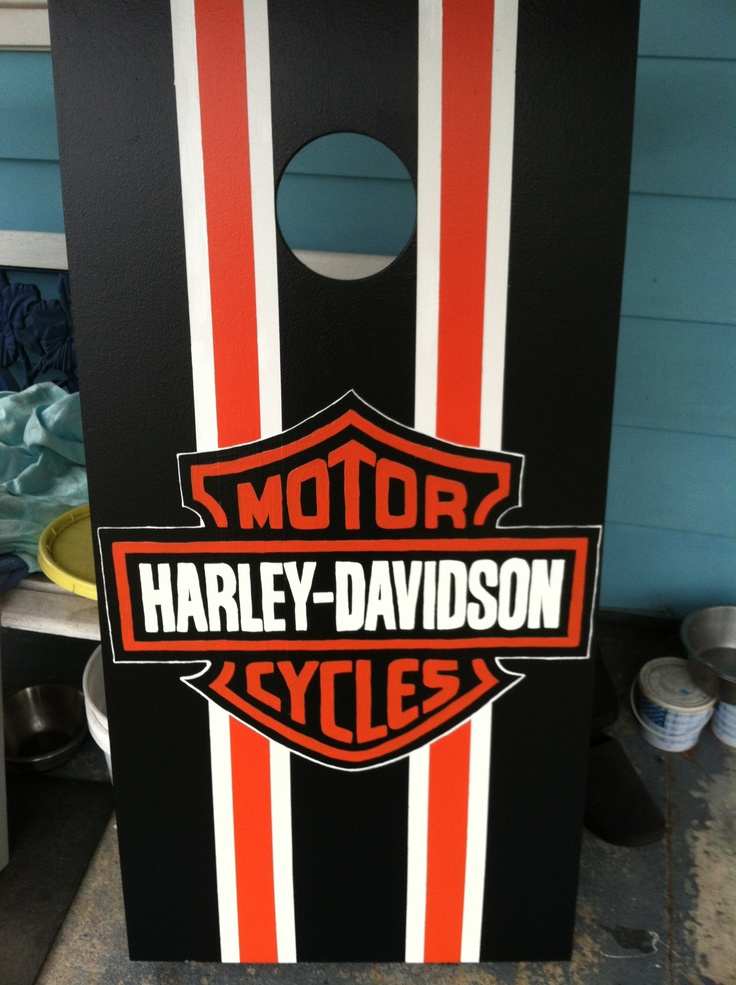 Harley Davidson Cornhole board  Bags and Boards  Pinterest  Cornhole boards Harley davidson