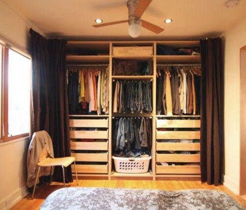open closet, no doors, curtains