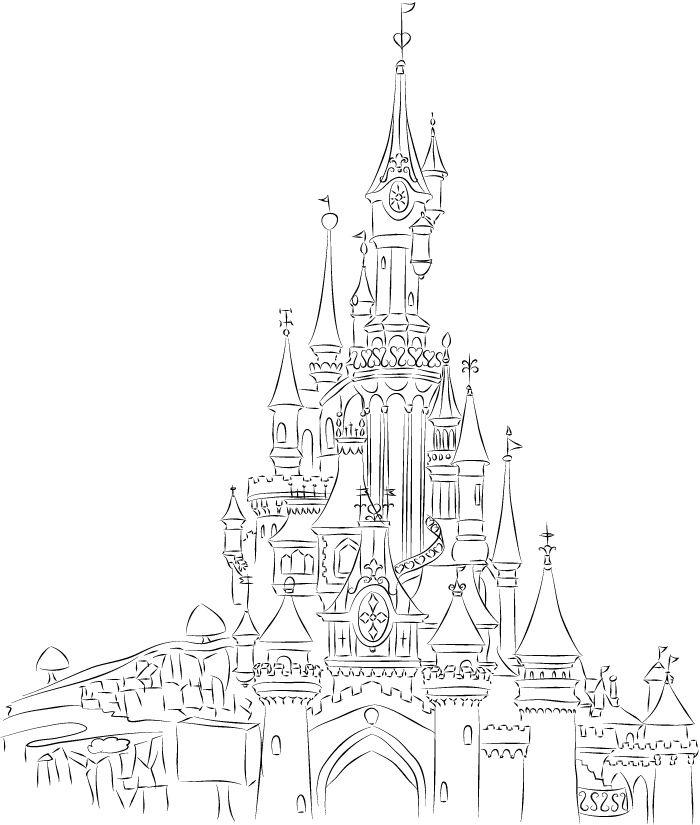 Disneyland Paris Castle Line Art by champk.deviantart.com