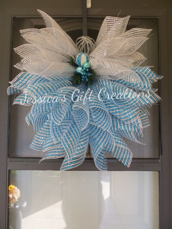 Made To Order Family Name Deco Mesh WreathDoor Wreath